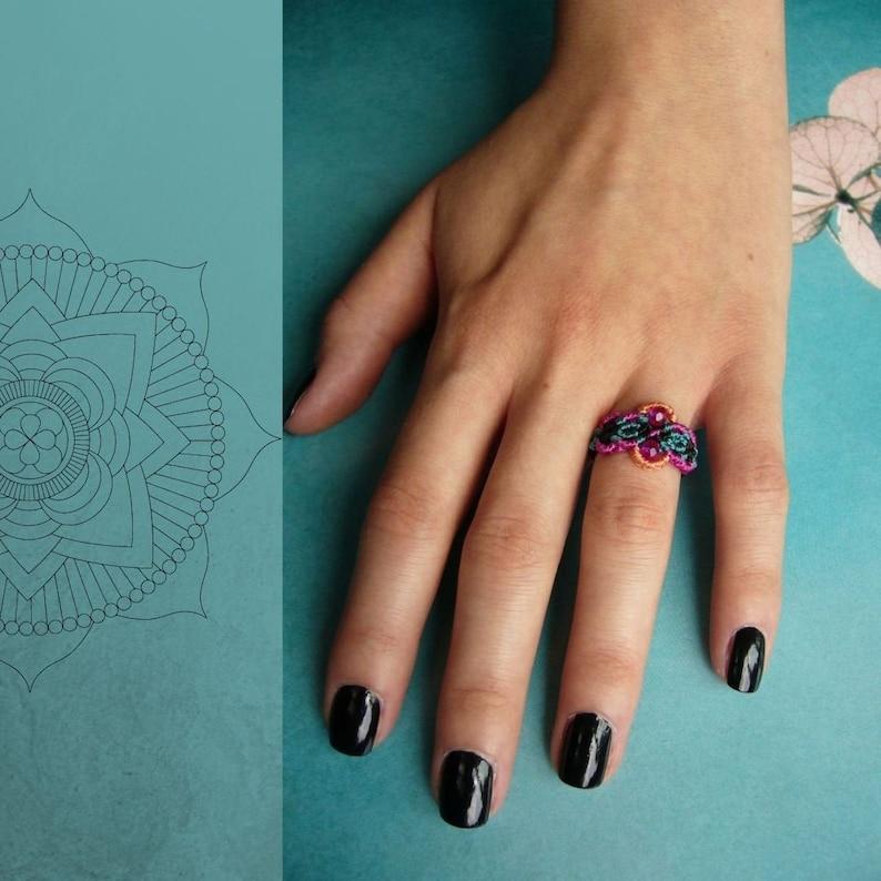 Macrame ring band ring micromacrame ring gift for woman image 0