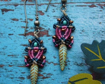 Macrame earrings, earrings, micromacrame earrings, boho, gift for wife