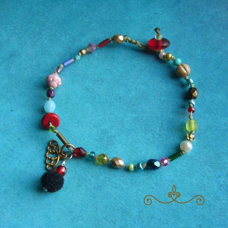 Boho bracelets glass beads knotted arm jewelry gift for image 0