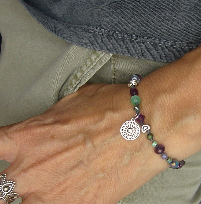 Boho bracelets glass beads purple turquoise aqua knotted image 0