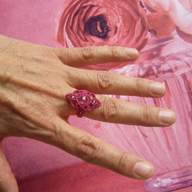 Macrame ring micromacrame ring gift for woman Swarovski image 0
