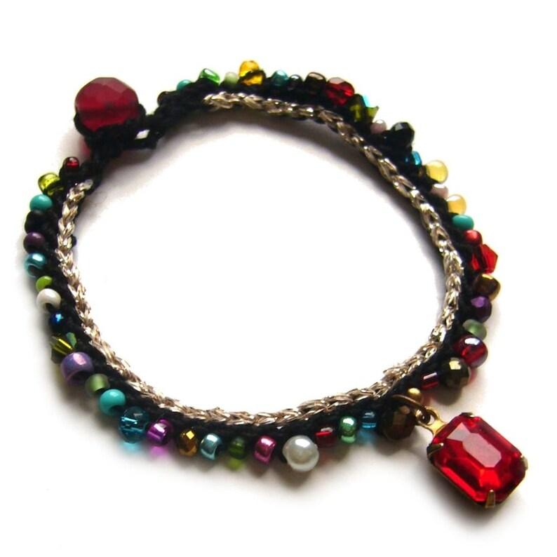 Crochet bracelet boho pearl bracelet bracelet colorful image 0