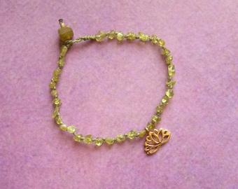 Boho bracelets, peridot splinter beads, knotted, arm jewelry, gift for woman, yoga jewelry, lotus flower pendant