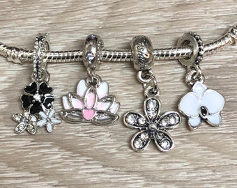 8eed55e66 Flower Charms, Lotus charm, Orchid charm, Black Flower charm, fits Pandora  charm bracelets necklaces, Bead Spacer, Pendant, charm,silver 925
