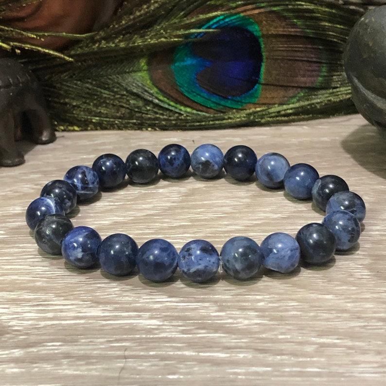 crystal healing chakra Sodalite beads reiki yoga boho hippie Sodalite bracelet Sodalite bead bracelet maka Sodalite