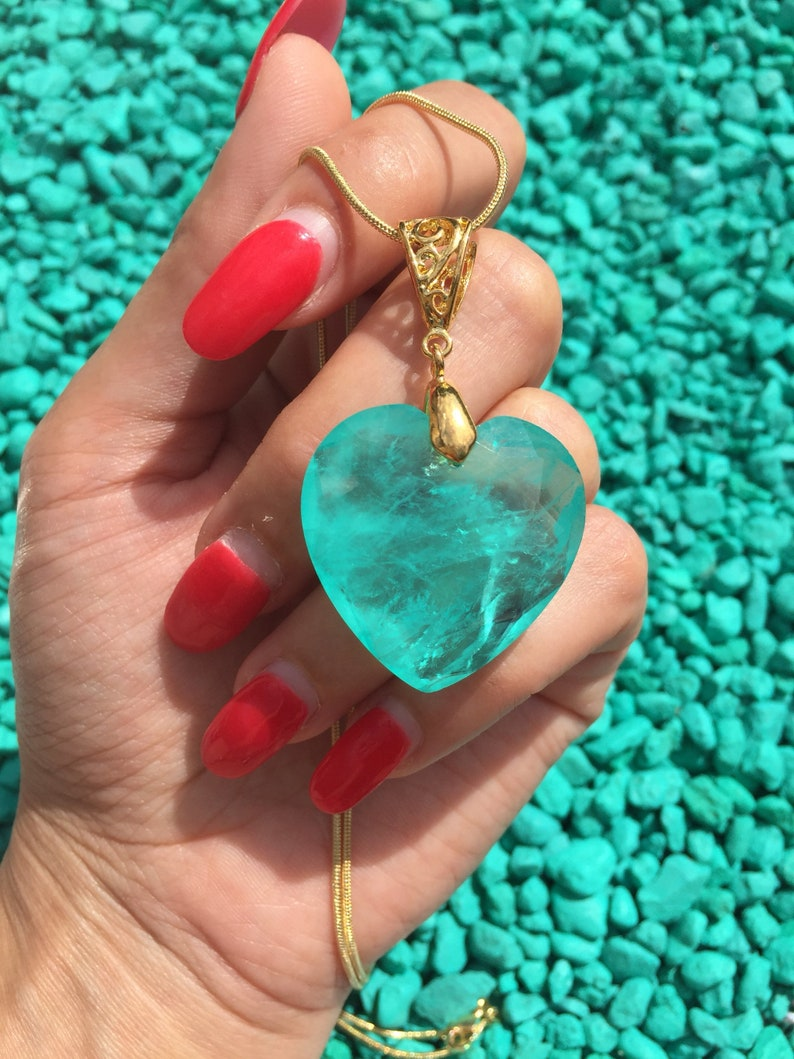 Titanic Natural Blue Colombian Emerald Heart of the Ocean Necklace Large Beautiful Unique Neon Bluish Green