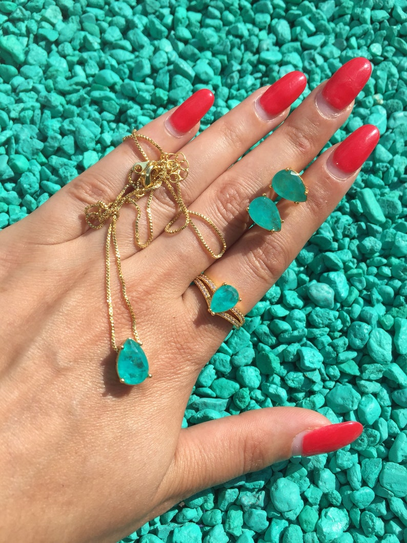 Natural Copper Bearing Paraiba Tourmaline Jewelry Set Ring Earrings and Necklace Neon Blue Brazil 925 Sterling Silver Set