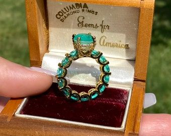 100% Genuine Columbia Emerald Gem Multi Gemstone Ring Band, Handcrafted Masterpiece, Natural Emerald Ring, Emerald Engagement Ring