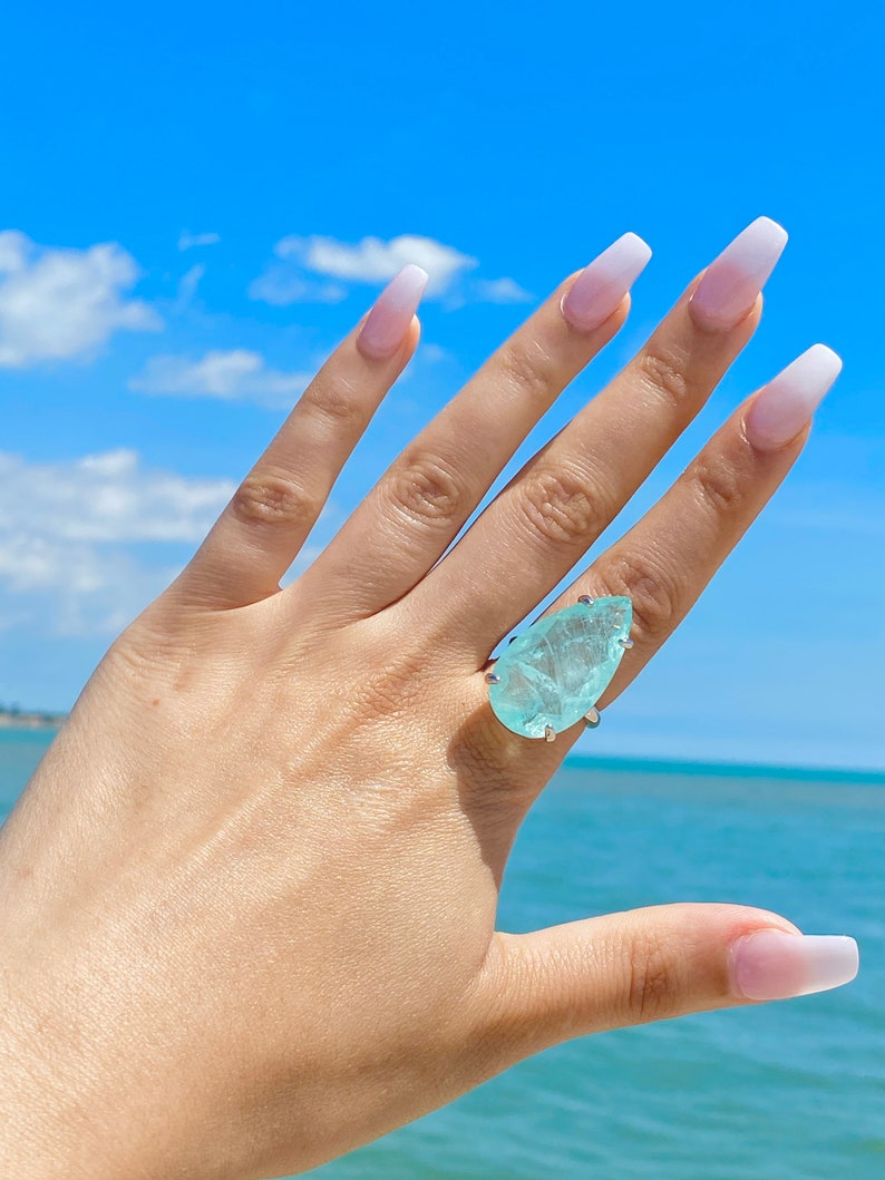 Size 7 Pear Solitaire Ring March Birthstone Magnificent Large Aquamarine Ring Natural Mine from Brazil