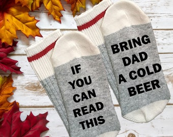 if you can read this bring dad a cold beer socks for men father dad get me a beer funny novelty grey quote socks with sayings text quotes