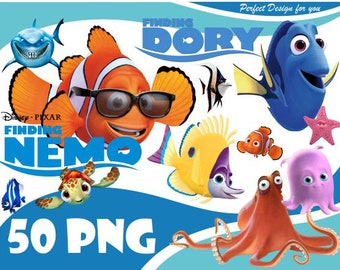 Finding Nemo Clipart Dory And PNG Characters Clip Art Transparent Background 300dpi Instant Download Digital File