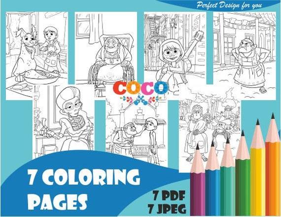 Coco Coloring Pages Coco Theme Coco Pdf Pixar Coco Coco Etsy