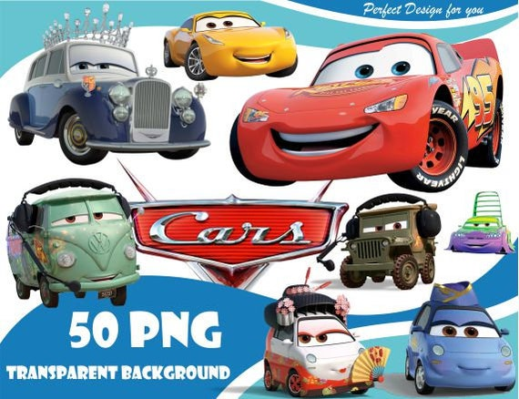 Cars Clipart Cars Png Cars Characters Cars Party Cars Clip Art Etsy
