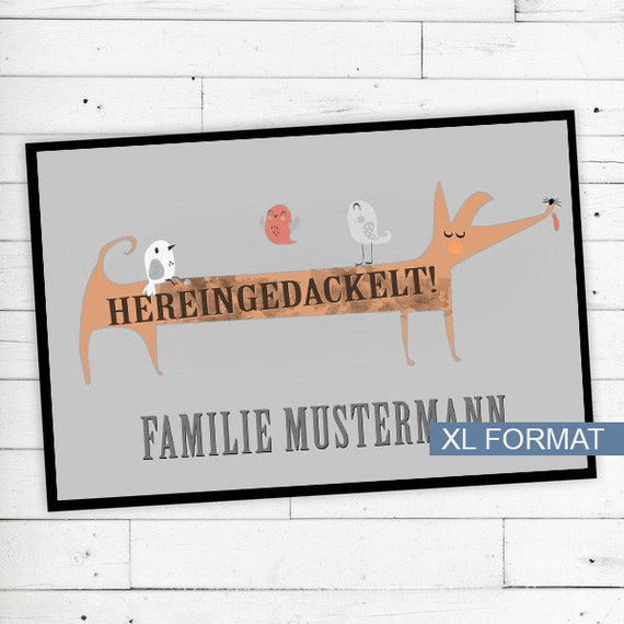 "Floor Mat ""Hereingedackelt"" with name or text XL"