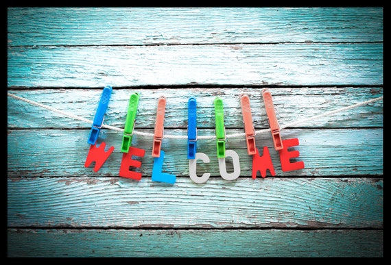 "Floor mat, kicker with the motif: ""Welcome""-colourful"