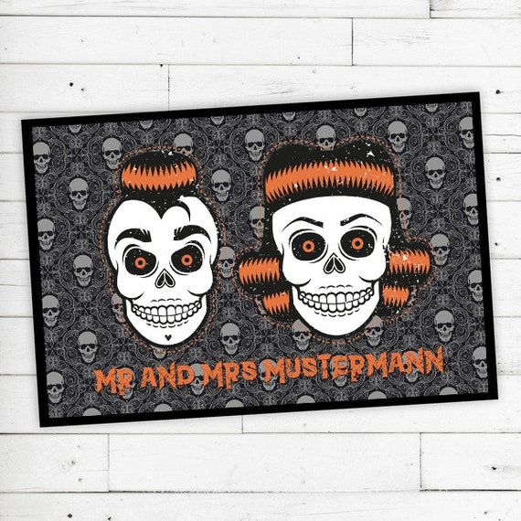 """Rockabilly skulls"" floor mat with name or text"
