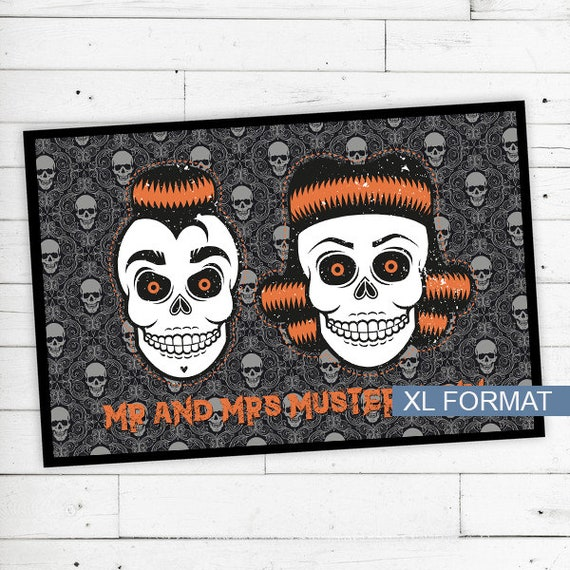 """Rockabilly skulls"" floor mat with name or text"