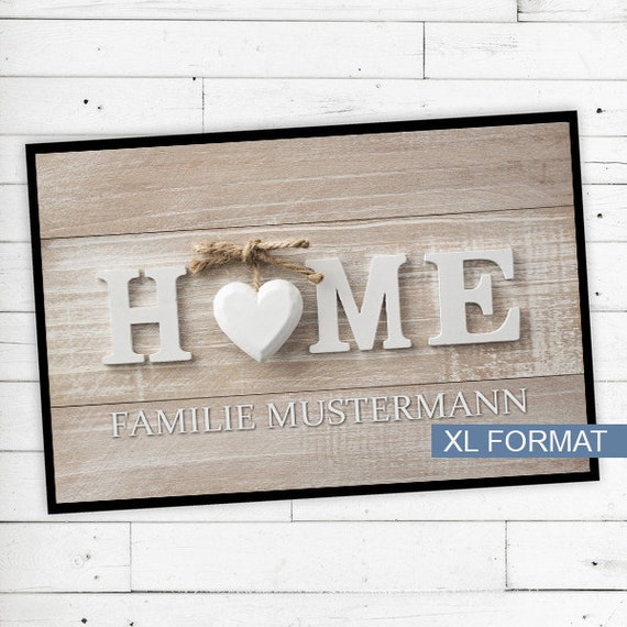 "Floor Mat ""Home"" with name or text personalized"
