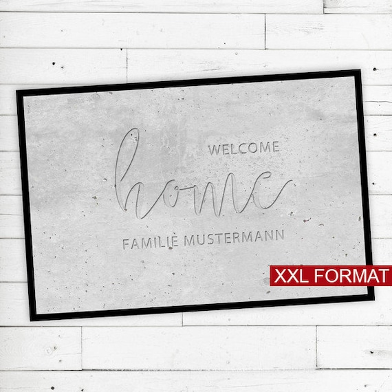 "XXL Floor Mat ""Welcome Home"" with Name or text"