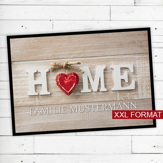 "XXL Floor Mat ""Home"" with name or text 70x105"
