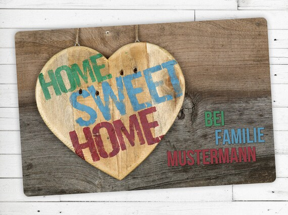 "Floor mat with Name, individual ""Home sweet Home"""