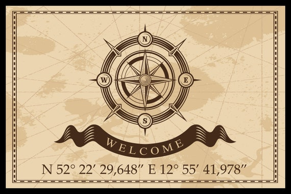 Floor mat with your address coordinates & COMPASS