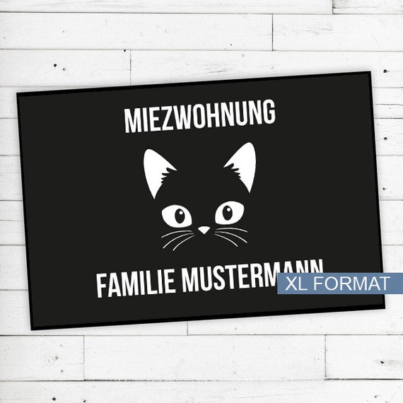 "Floor Mat ""Miezwohnung"" (cat) with name or text"