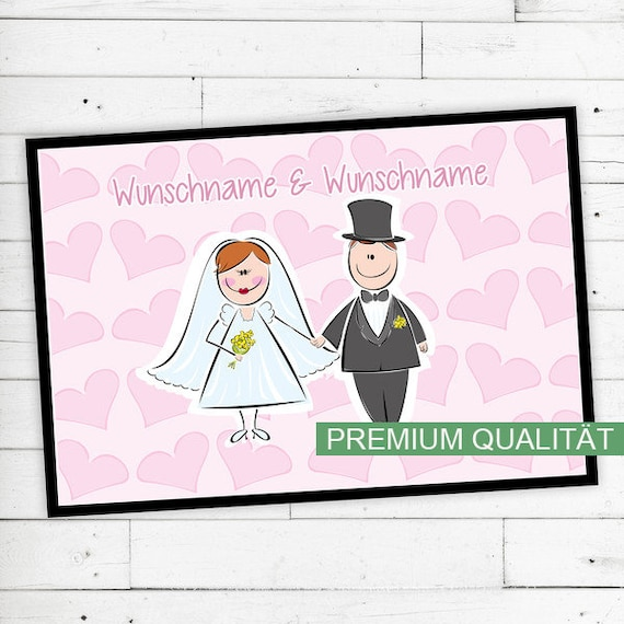 "Floor Mat ""wedding"" with desired name O. Desired text"