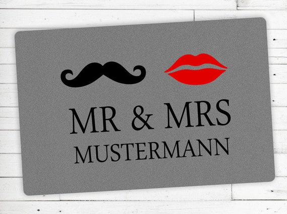 "Floor mat with your name ""Mr & Mrs""-Individual"