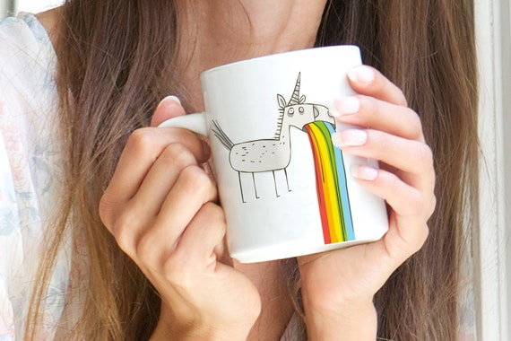 "Mug motif Unicorn ""I could puke.."""