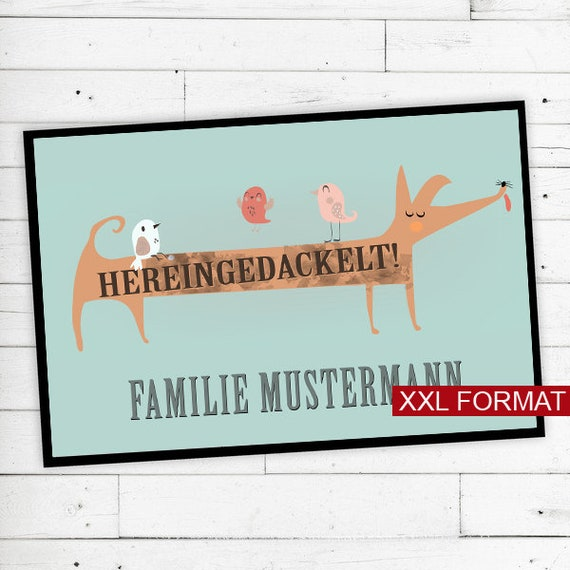 """Floor Mat """"Hereingedackelt"""" with name or text XXL"""