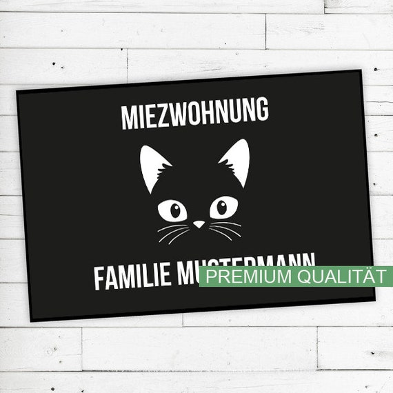 "Doormat ""Miezwohnung"" (cat) with name or text"