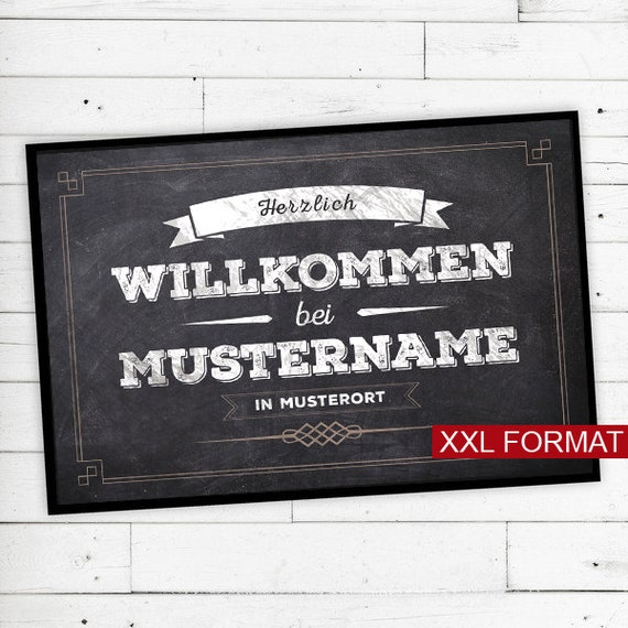 """XXL Floor Mat """"vintage"""" with name or text (chalk)"""