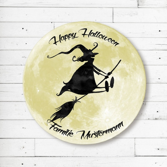 Mat Witch on brooms before moon-Halloween-