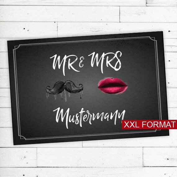 """Floor mat Personalized with name """"Mr & Mrs"""" XXL"""