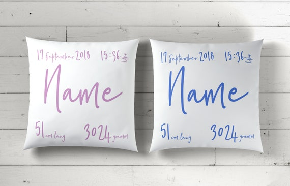 Personalized baby pillow with birth name