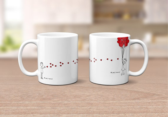"Couple Cup ""lovers"" with names (set of 2)"