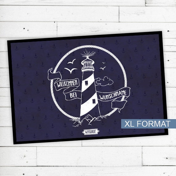 "Floor Mat ""Lighthouse"" with your name or text"