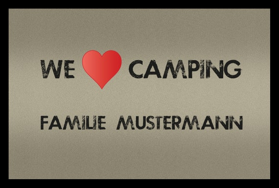 "Mat ""We love Camping"" with Name & Wish text"