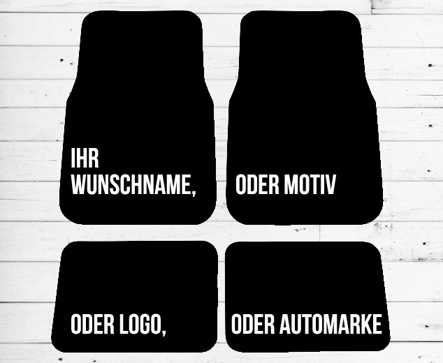 auto fu matten 4er set mit namen motiv oder text etsy. Black Bedroom Furniture Sets. Home Design Ideas