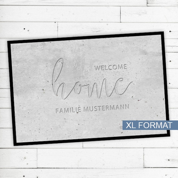 "XL Floor Mat ""Welcome Home"" with Name or text"