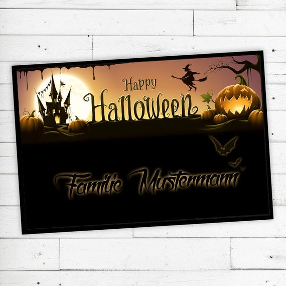 """Floor Mat """"Halloween"""" with your name or text"""