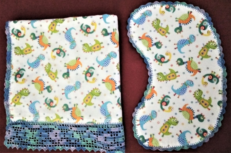 Baby Burp Cloth with Hand Crocheted Edge Bright Colored Flowers Quilted Flannel
