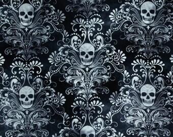 Skull Fabric – Timeless Treasures Skulls Damask Pattern Charcoal Fabric