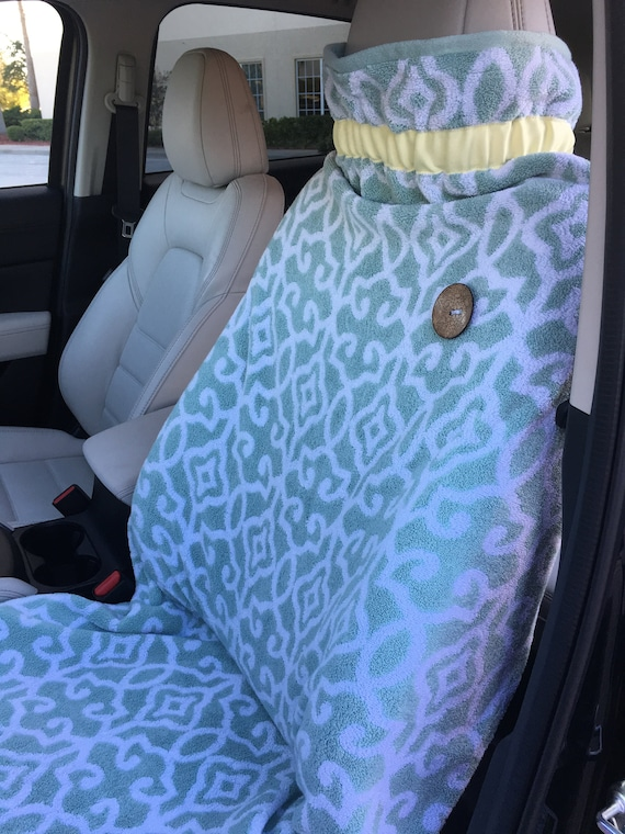 Super Plush Beach Car Seat Cover Green Patterned Yellow Ribbon With Wooden And Plastic Buttons Pabps2019 Chair Design Images Pabps2019Com
