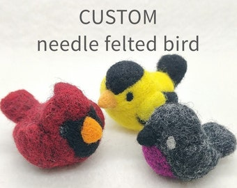 CUSTOM needle felted bird figurine