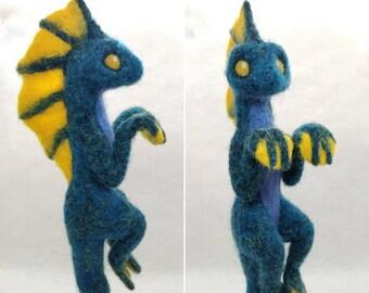 Needle Felted Sea Monster Dragon Figurine