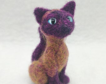 Needle Felted Colorful Cat Figurine