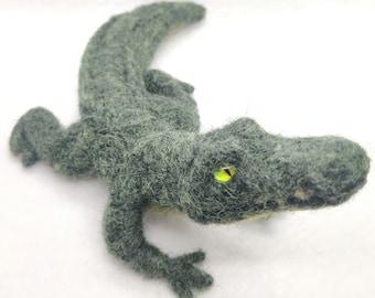 Needle Felted Crocodile Figurine