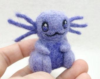 Needle Felted Purple Axolotl Figurine